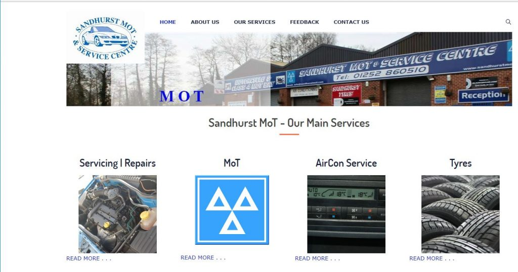 Sandhurst MOT And Service Centre Website